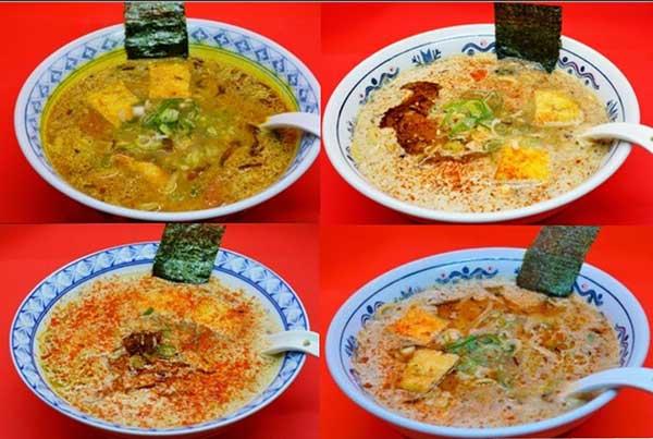 ヴィ―ガンラーメンのラインナップ(左上:カレーラーメン ニルヴァーナ、右上:濃口 酵母ラーメン ドラゴン、左下:ドラゴン担々麺、右下:ガーリック ドラゴン)