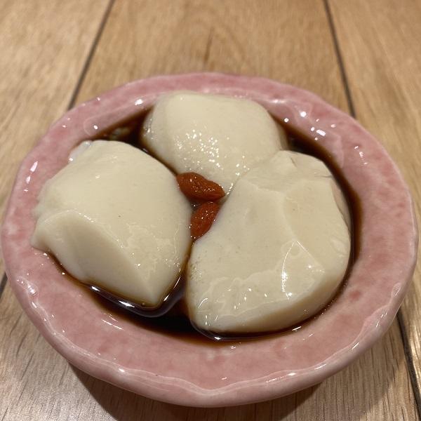オーナーお勧めのメープル豆乳杏仁豆腐