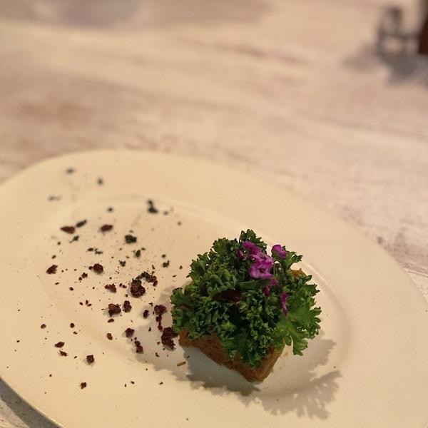 きんぴらごぼうをペースト状にした上にたっぷりのパセリとエディブルフラワーで美しく大地を切り取ったようなお料理